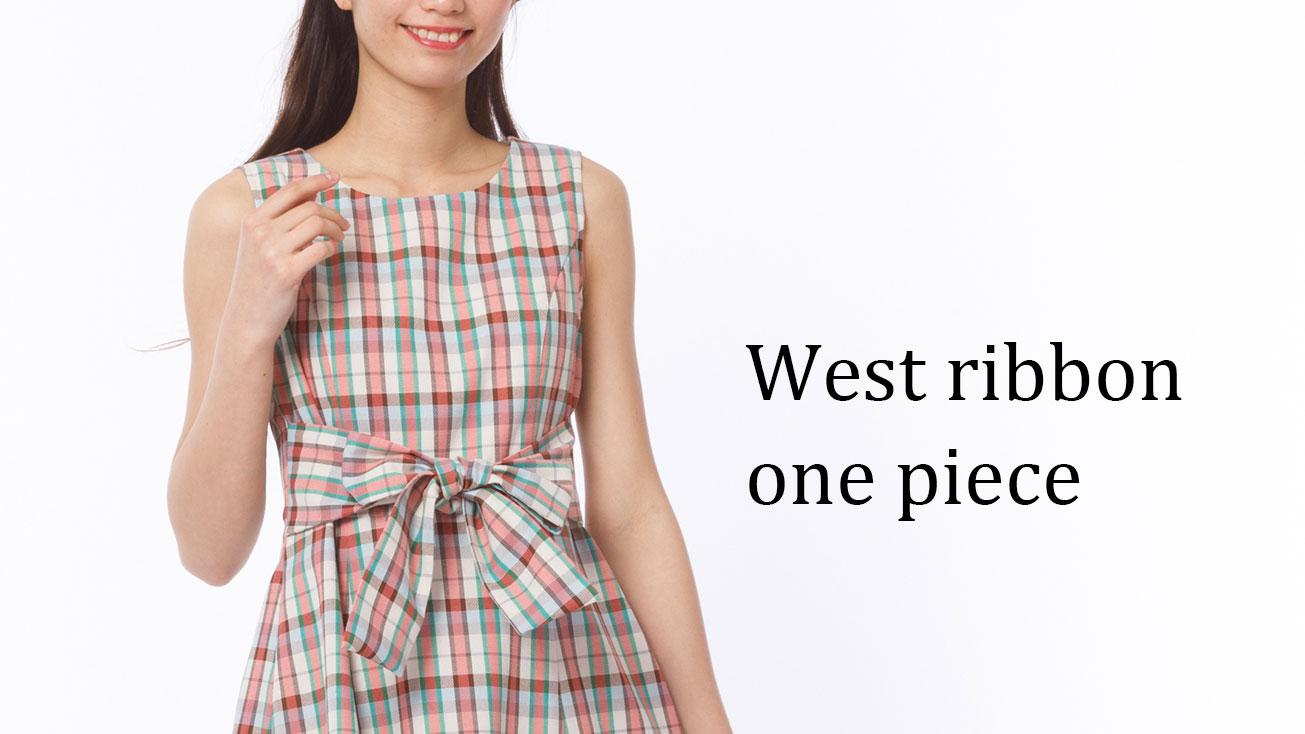 【新作】ステッチウエストリボンフレアスカート